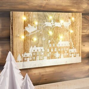 LED Deko Wandbild Santa Claus, Natur/Weiß, Holz  10 LED's Bild  Weihnachten