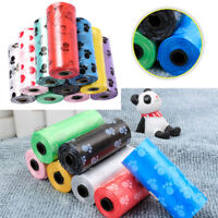 1/5/10/20 Roll Pet Waste Poop Bag Cat Dog Feet Printed Clean-up Degradable Bags