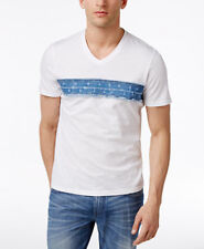 New Mens INC International Concepts Denim Trim V Neck White T Shirt Tee 3XL
