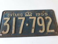 VTG 1955 Ontario License Plate 317 792 Canada Crown