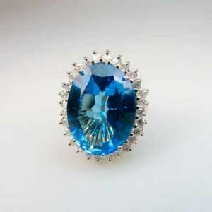 14k London Blue Topaz Yellow And White Gold Cocktail Ring