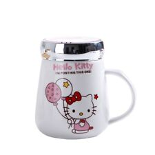 HOT New Cute Hello Kitty Cat Coffee Mugs with Mirror Lid 450ml Tea Milk Cup Gift