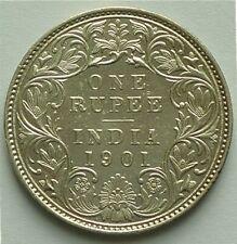 "INDIA 1901 C C/I, ""C"" INCUSE - RUPEE - QUEEN VICTORIA - AU SILVER - BEAUTY!"