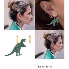 UK Asymmetric Gold Green Diamond Crystal Dinosaur Ear Hoop Drop Dangle Earrings