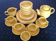 HOGANAS KERAMIK SWEDEN SVERIGE STONEWARE TEASET & DINNER-SET FOR FOUR. YELLOW.