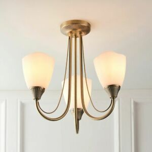ADLEY Antique Brass 3 Way E14 Ceiling Light with Opal Glass Shades - Semi Flush