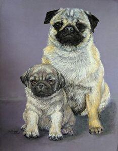 Original Pastel Drawing Mother Pug Dog & Puppy Sally Porter Wildlife Art
