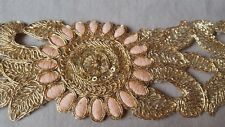 Rose gold sequin lace trim zari flower work pink embroidery 1 Metre