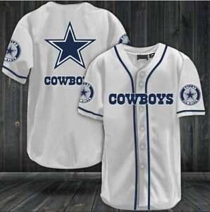 Dallas Cowboys Men's Baseball Shirt Football Button-Down Tee Top Uniforms