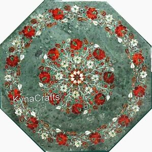 Octagon Marble Sofa Table Red Color Stone Inlaid Work Coffee Table Top 24 Inches