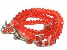 Islamic Tasbih Crystal 99 Beads Tasbeeh Dangling Tassel Muslim Counter Orange