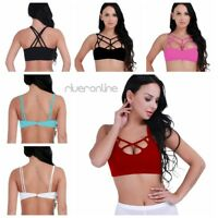 Women Sexy Criss Cross Strappy Bralette Seamless Sports Fitness Yoga Bra Tops