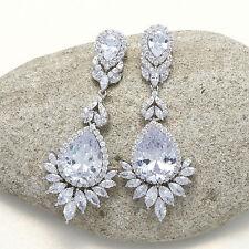 Cubic Zirconia Chandelier Teardrop Dangle Stud Earrings Platinum Plated