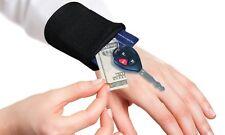 Fascia da polso polsino portachiavi soldi monete Carte con zip Corsa Sport NERO