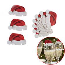 10x Vestito Di Babbo Natale Natale Tavolo Da Pranzo Bicchiere Vino Decorazione