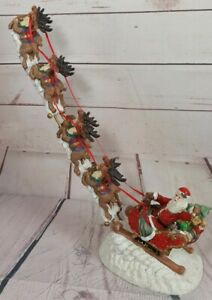 "Jaimy Santa and Reindeer 17"" Tall Beautiful Resin Christmas Decoration Festive"