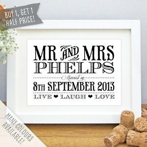 Mr & Mrs Personalised Wedding Date Valentines Anniversary Love Print / Frame Art