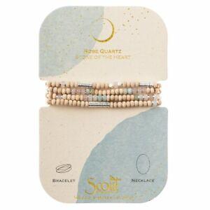 Scout Wood Stone Metal Wrap ROSE QUARTZ & SILVER Bracelet Necklace Jewelry Heart