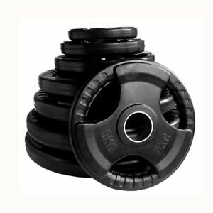 """Tri-grip Weight Plates Lifting Weights Gym Home Rubber Encased 2"""" Olympic"""
