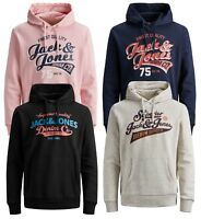 JACK & JONES Originals Men Sporty Overhead Gym Hoodie Logo Hooded Sweatshirt Top