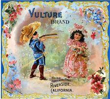 Riverside Vulture Children Orange Citrus Fruit Crate Label Art Print