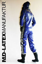 "MD-Latex ""POLICE"" TUTA in lattice con extra 0,9 mm-Nuovo-completamente Tuta Overall"