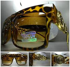 OVERSIZED VINTAGE RETRO Style SUN GLASSES Tortoise & Gold Chain Frame Honey Lens