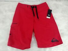 Quiksilver Boys Red Board Shorts Surf Swim Trunks Size 26, NEW