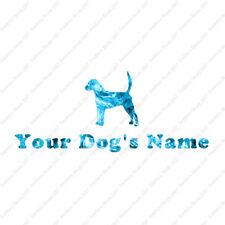 Custom English Fox Hound Dog Name Decal Sticker - 25 Printed Fills - 6 Fonts