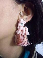 Boucles d'oreilles originales petit poney rose cartoon cute kawaii plastique