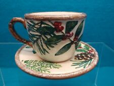 Yankee~Candle~Teacup & Plate~Votive/Tealight Holder~Christmas Greenery~2012~ New