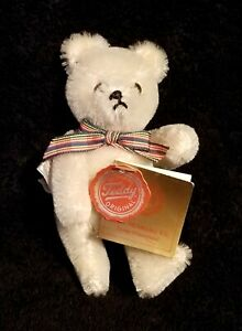 "Vintage Hermann Miniature 5"" Hinged White Mohair Teddy Bear West Germany - NWT"