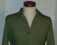 VTG WWII BUTTON FRONT OLIVE GREEN MECHANIC'S COVERALLS! BELT! COTTON FABRIC! 38