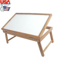 USA Portable Folding Bed Table Bamboo Coffee Dining Tray Adjustable Lap Desk