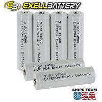 6pk 3.2V 500mAh AA 14500 LiFePO4 Rechargeable Solar Lamp Batteries FAST USA SHIP