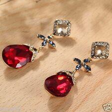 Wholesale 1pair  Woman's Red Crystal Rhinestone Long Ear Stud Hoop earrings 136