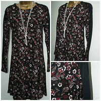 M&S Marks & Spencer Ladies Black Mix Floral Jersey Dress Tunic Top Size: 6 - 22
