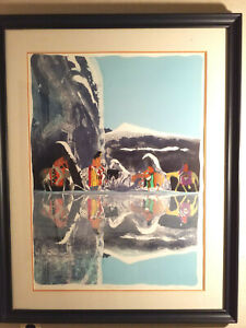 """EARL BISS  """"MIRROR PASS""""  SIGNED  LIMITED EDITION  11/100 FRAMED ART"""