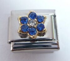 DARK BLUE FLOWER GEMS Italian Charm September Birthstone fits Classic Bracelets