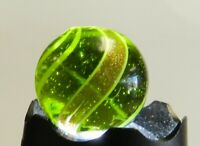 #12330m Large .78 In Green Glass Maglight Banded Lutz German Handmade Marble