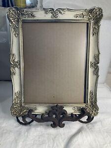 "Vintage Art Nouveau Picture Frame  12""x 10"" Silver Plated Metal Hocks Back"