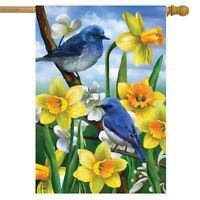 """Bluebirds And Daffodils Spring House Flag Floral 28"""" x 40"""" Briarwood Lane"""