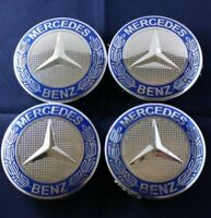 4x Mercedes Benz Alloy Wheel Centre Caps 75mm Badges Blue Hub Emblem - Fits 75mm