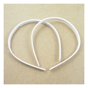 2 WHITE PLASTIC BLANK HAIRBANDS TEETH GRIPPER 9mm HEAD ACCESSORY CRAFT C1395