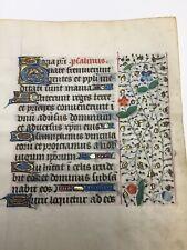 MEDIEVAL ILLUMINATED MANUSCRIPT  BOOK OF HOURS LEAF 1500