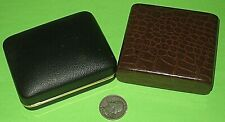 RARE ANTIQUE LOT 2 CLAM SHELL BOX FAUX ALLIGATOR BOXES JEWELRY DISPLAY VINTAGE