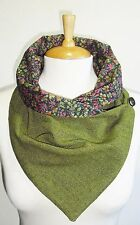 Scottish 100% wool Green Tweed Ladies Scarf/Snood with Liberty Tana Lawn lining