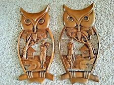 """VTG OWL Carved Wooden Pair 21""""x11"""" Wall Plaques Folk Art Palm Tree Scene"""
