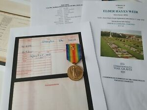 WW1 Victory Medal to Pte Weir, 1st Royal Highlanders, DOW, Glasgow man