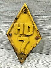 Vintage HD 7 Cast Iron Diamond Shaped ID Plate Sign Tag Earth Mover Bulldozer